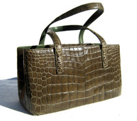 Gorgeous XL MOSS GREEN Early 2000's ALLIGATOR Belly Skin Handbag