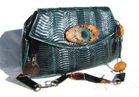 Embellished GREEN 1980's COBRA Snake Skin CLUTCH Bag - Peacock - J RENEE