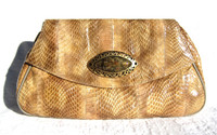 Evil Eye Tan Embellished 1980's COBRA Snake Skin CLUTCH Bag - J RENEE