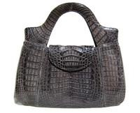 XL 14 x 10 Dark GRAY 1990's CROCODILE Skin Handbag
