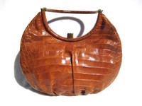 1950's BURNT ORANGE Crocodile Belly Skin Handbag - PRADO Bags