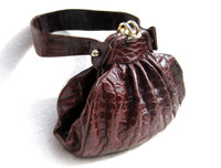 Fabulous 1940's DECO Caiman Crocodile Skin Handbag