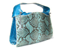 XXL Early 2000's TURQUOISE CROCODILE & PYTHON Snake Skin Satchel Bag