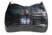XXL 17 x 11 1990's-2000's BLACK Crocodile Skin Satchel Shoulder Bag