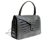 Stunning GRAY 1990's-2000's CROCODILE Porosus Belly Skin Handbag