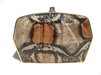 1980's Salmon & Tan BOA Snake Skin Shoulder Bag Clutch