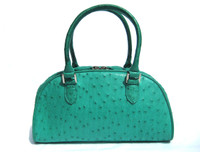TURQUOISE Green Early 2000's Ostrich Skin Handbag