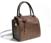 1950's-60's Chocolate Brown MARTIN VAN SCHAAK Lizard Skin Satchel - Lock & Key!