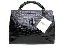 Stunning  XL 1990's-2000's Jet Black ALLIGATOR Belly Skin Shoulder Bag SATCHEL -Maxima - Titti Del'Aqua - ITALY