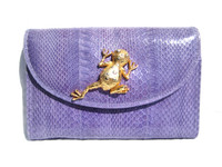 Lilac PURPLE 1990's COBRA Snake Skin CLUTCH Shoulder Bag w/FROG - SAKS
