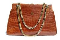 Chanel Style 1950's-60's Cognac CROCODILE Porosus Belly Skin Handbag