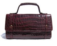 Beautiful BURGUNDY RED 1960's ALLIGATOR Belly Skin Handbag
