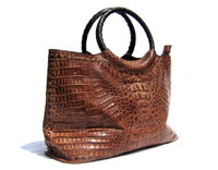 AMPLE 16 x 8.5 Early 2000's TOBACCO Brown Hornback CROCODILE Skin Bag Satchel