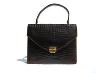1960's Chocolate Brown HERMES Style CROCODILE Belly Skin Handbag Brief - Del Prado
