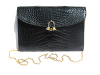 1980's-90's JET BLACK ALLIGATOR Skin Shoulder Bag Clutch - MENESTRIER - PARIS
