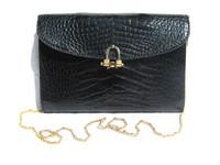 1980's-90's JET BLACK ALLIGATOR Skin Shoulder Bag Clutch - MENESTRIER - PARIS