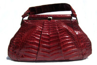 "Lovely XL 14"" RED 1950's-60's ALLIGATOR Belly Skin Handbag - ARGENTINA?"