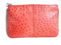 New! Candy Apple Red OSTRICH Skin Make Up Bag Clutch - Titti Dell' Acqua