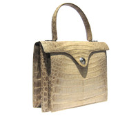 CREAM/TAUPE 1960's CROCODILE Belly Skin Handbag - SILVER