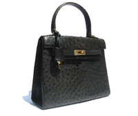 Jet Black Early 2000's BIRKIN Style OSTRICH Skin Handbag
