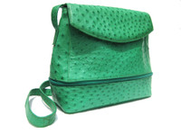 TURQUOISE Green Early 2000's Ostrich Skin CROSS Body Shoulder Bag