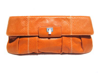 "XXL 16"" Early 2000's ORANGE Snake Skin Clutch- Lambertson Truex"