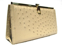 Gorgeous Buff NUDE 1980's Ostrich Skin CLUTCH Shoulder Bag - CORBEAU