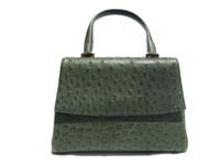 Dark GREEN 1990's-2000's Ostrich Skin Handbag SATCHEL