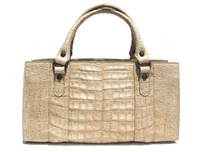 CREAM Buff 1990's-2000's CROCODILE Belly Skin Handbag