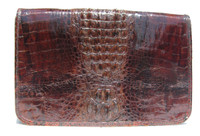 Stunning Unisex 1960's-70's Hornback Crocodile Skin Shoulder Document Bag Clutch