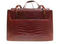 Stunning COLE HAAN Dark Cognac Early 2000's ALLIGATOR Belly Skin SHOULDER Bag