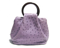 Stunning Lavender PURPLE GIORGIO'S Palm Beach  Ostrich Skin Handbag  - Circular Handles!