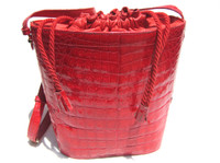 Stunning RED 1990's-2000's ALLIGATOR Skin Bucket-Style Shoulder Bag