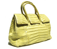 Early 2000's XL 20 x 11 NEON YELLOW Crocodile Belly Skin Handbag Travel Bag SATCHEL - LAI