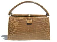 Light OLIVE GREEN 1950's-60's Alligator Skin Handbag - LUCILLE DE PARIS