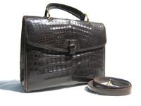 XL 1990's-2000's Tobacco Brown CROCODILE Belly Skin Handbag SATCHEL Shoulder Bag- ITALY!