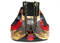 Stunning 1980's Black, Red & Gray PYTHON Skin Shoulder Bag