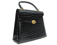 Tall 1980's Jet Black PIERRE CARDIN Alligator Skin Handbag - Italy!