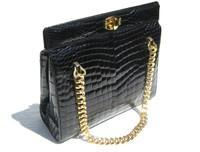 Jet BLACK 1950's-60's CROCODILE Belly Skin Handbag Shoulder Bag - CHAINS!
