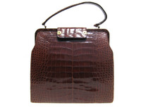 Rare BIENEN DAVIS 1950's-60's ALLIGATOR Belly Skin Handbag
