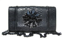 Dramatic Jeweled BLACK Python Snake Skin Clutch Shoulder Bag - Falchi