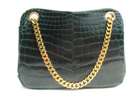 Stunning 1990's TEAL GREEN Alligator Belly Skin Handbag Shoulder Bag - Chain Straps!