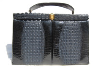 XXL JET BLACK 1960's Double HORNBACK Crocodile Skin Handbag - Tail Trim!