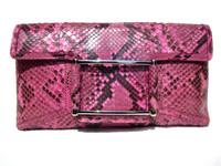 XL Early 2000's Fuchsia PINK PYTHON Snake Skin Clutch Shoulder Bag - LAMBERTSON TRUEX