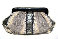 LAI Early 2000's Stunning Metallic Black, Gold & Cream PYTHON Snake Skin Clutch Bag