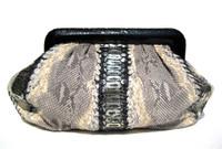 LAI Early 2000's Stunning Metallic Black, Gold & Cream PYTHON Snake Skin Clutch Bag