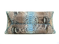 Early 2000's Baby BLUE & Cream Matte PYTHON Snake Skin CLUTCH Bag - JILLY