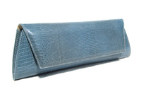 Powder BLUE Early 2000's Lizard Skin CLUTCH Shoulder Bag - LAI!