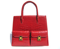 Huge 12 x 10 Early 2000's LANA MARKS Red ALLIGATOR Belly Skin Handbag Shoulder Bag - Boxed!