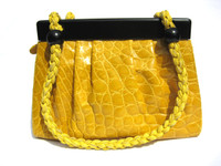 ASPEN GOLD YELLOW 2000's ALLIGATOR Belly Skin Shoulder Bag - SUAREZ